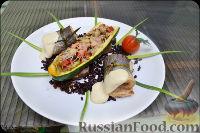 Фото к рецепту: Рулетики из сибаса, с овощами и рисом