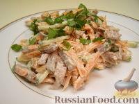 Фото к рецепту: Салат из языка и свежих овощей