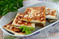 Фото к рецепту: Конвертики из лаваша с фаршем и зеленью (на сковороде)