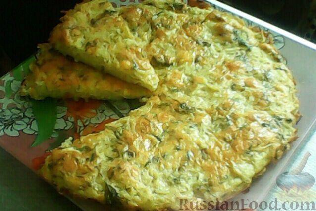 Рецепт Пирог-запеканка из тертого картофеля с сыром и чесноком