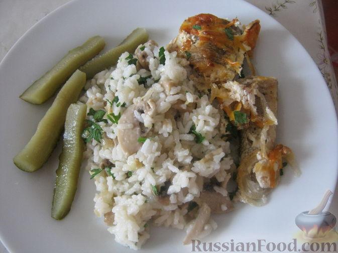 Рецепт Рис лимонный с грибами и травами