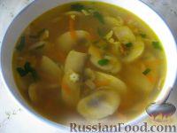 Фото к рецепту: Суп картофельный со свежими грибами