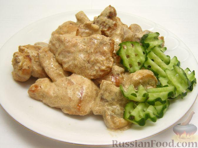 Рецепт Грудка курицы со сливками и грибами