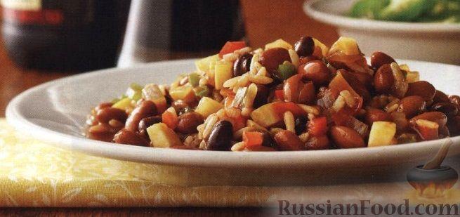 Рецепт Фасолевое рагу с рисом и овощами (в медленноварке)