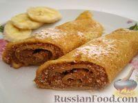 Фото к рецепту: Блины с бананом и шоколадом