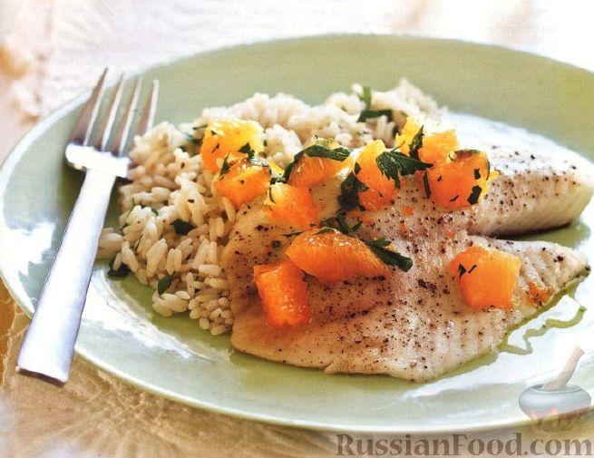 Рецепт Тилапия с апельсиновой сальсой и ароматным рисом