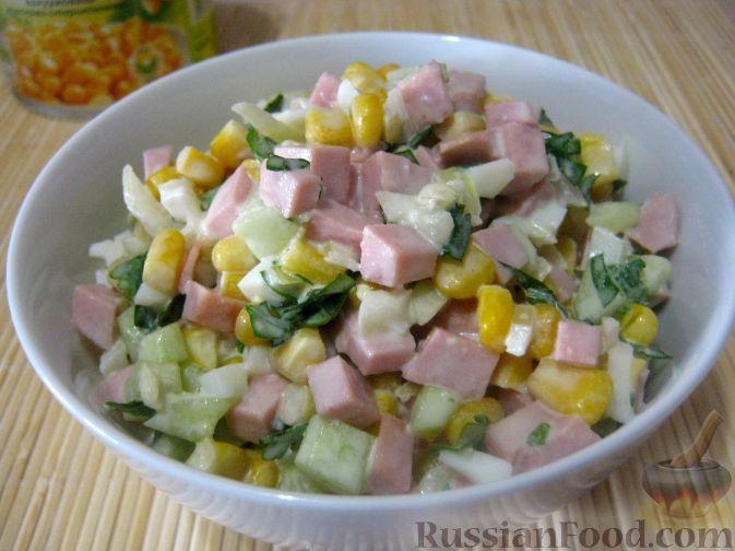 Рецепт Салат из колбасы с яйцами и кукурузой