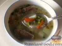 Фото к рецепту: Суп рисовый из говядины с горошком
