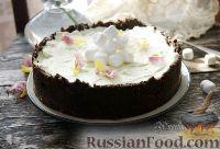 """Фото к рецепту: Торт """"Кузнечик"""" с кремом из маршмеллоу (без выпечки)"""