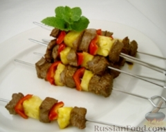 Рецепт Шашлыки из говядины и ананасов