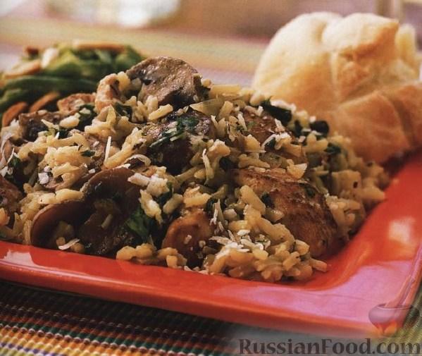Рецепт Курица с рисом, грибами и пармезаном