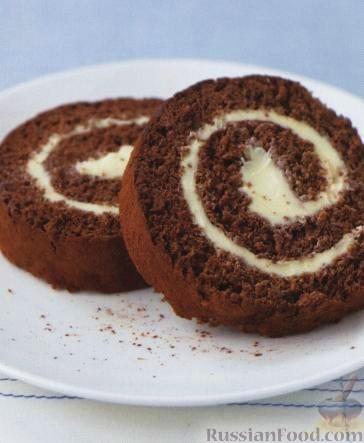 Рецепт Шоколадный швейцарский рулет с масляным кремом