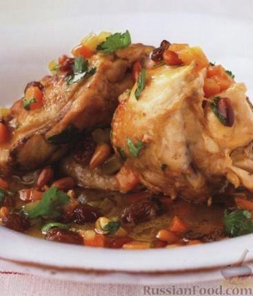 Рецепт Курица с изюмом и орешками