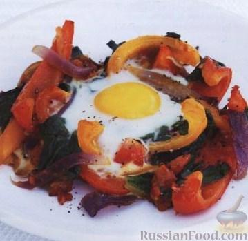 Рецепт Яйца, запеченные с помидорами и перцем
