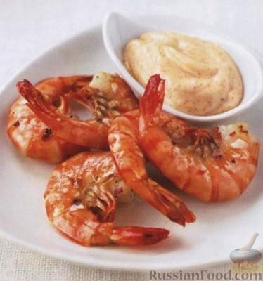 Рецепт Креветки с острым соусом