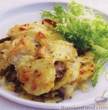 Рецепт Картофель, запеченный с грибами с сыром