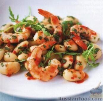 Рецепт Острые креветки с фасолью и лаймом