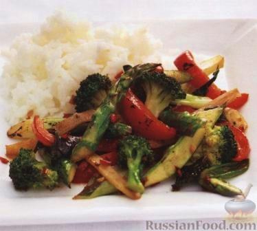 Рецепт Жареные овощи с имбирем и мятой