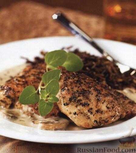 Рецепт Курица в сливочно-винном соусе