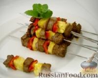 Фото к рецепту: Шашлыки из говядины и ананасов