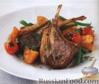 Фото к рецепту: Баранина с тыквой, стручковой фасолью и мятой