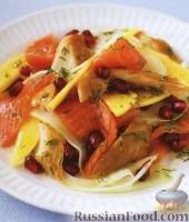 Фото к рецепту: Салат из копченой рыбы, фенхеля и манго