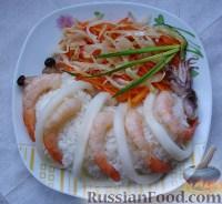 Фото к рецепту: Рис с морепродуктами и овощами