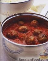 Фото к рецепту: Спагетти с тефтелями в томатном соусе