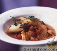 Фото к рецепту: Курица с луком-пореем, тушеная в вине