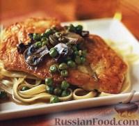 Фото к рецепту: Куриное филе с вином и грибами