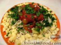 Фото к рецепту: Спагетти с  солёными помидорами