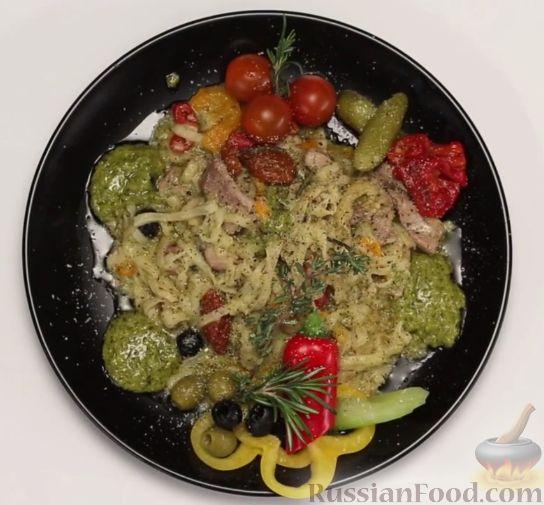 Рецепт Феттучини со свининой и овощами (в мультиварке)