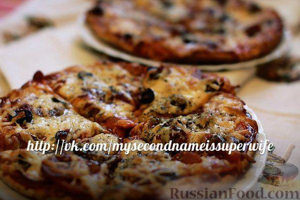 Рецепт Пицца с салями и маслинами