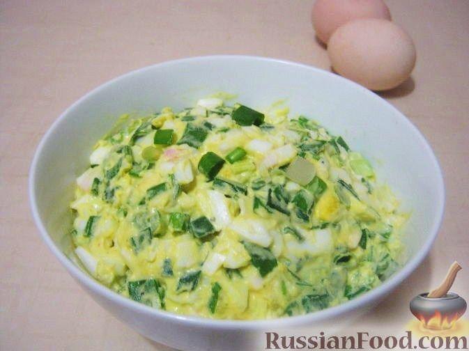 Рецепт Салат из яиц и зеленого лука