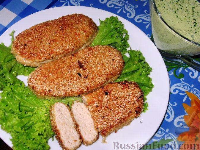 Рецепт Куриные котлеты в кунжуте и соус из черемши