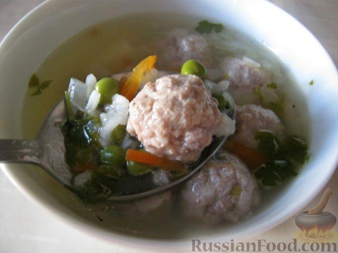"""Рецепт Суп с фрикадельками и зеленым горошком """"Дачный"""""""