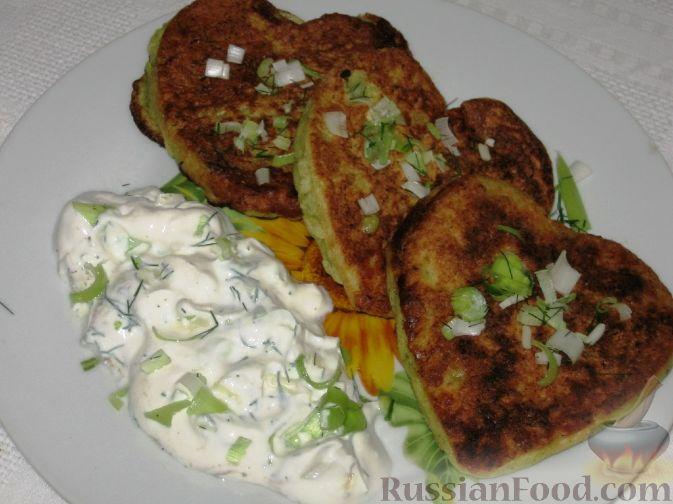 Рецепт Кабачковые оладьи с курицей