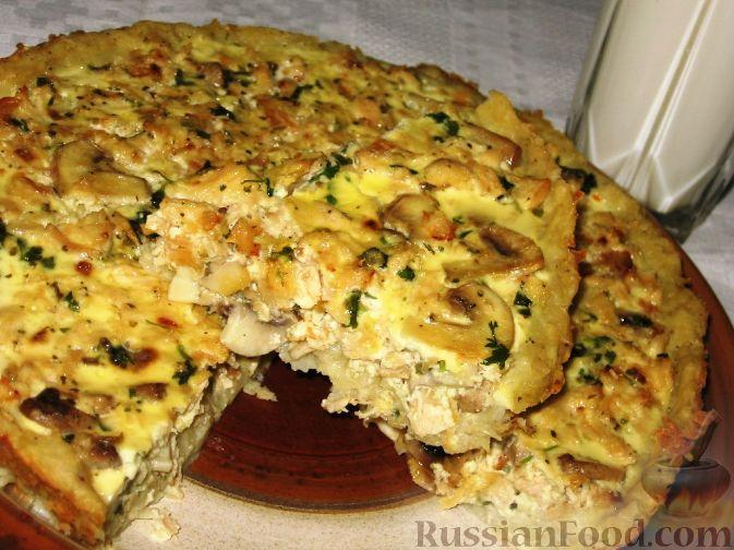 пирог с грибами и картошкой и курицей в духовке рецепт с фото