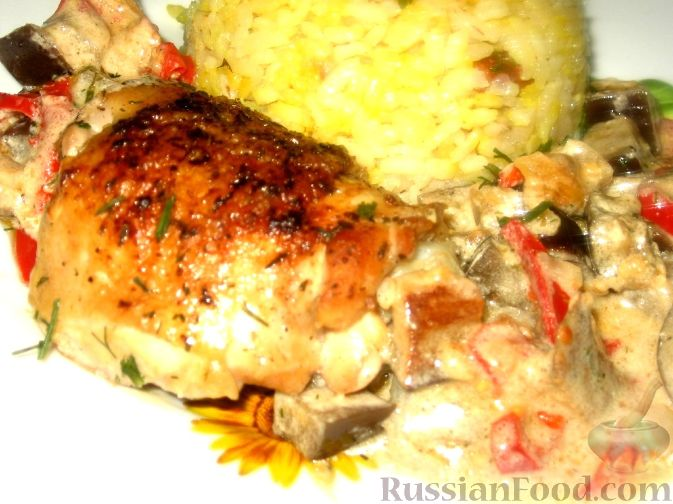 Рецепт Курица в баклажанном соусе