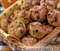 Фото к рецепту: Апельсиновые кексы с черникой и грецкими орехами