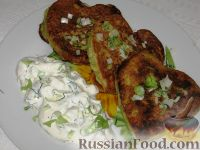 Фото к рецепту: Кабачковые оладьи с курицей