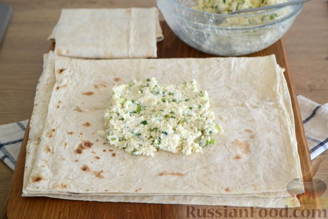 Фото приготовления рецепта: Омлет с курицей и сыром в лаваше (в микроволновке) - шаг №1