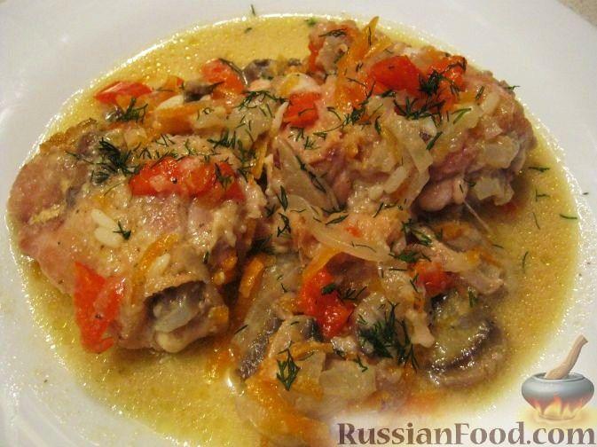 Рецепт Курица с грибами и овощами в сметане