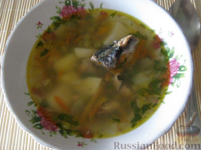 Рецепт Суп из консервированной рыбы с горошком