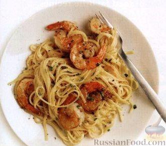 Рецепт Спагетти с креветками и сливочным сыром