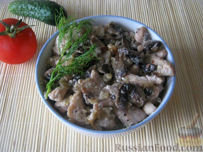 Рецепт Куриное филе со сливками и грибами