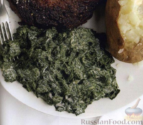 Рецепт Шпинат в сливочном соусе