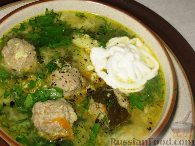 Рецепт Зеленый борщ с фрикадельками