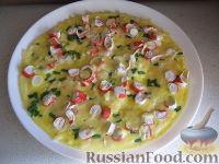Фото к рецепту: Омлет с крабовыми палочками и сыром