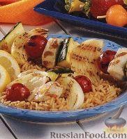 Фото к рецепту: Шашлыки из куриного филе и овощей
